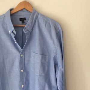 J. Crew Blue Button Front Oxford Shirt Size XL